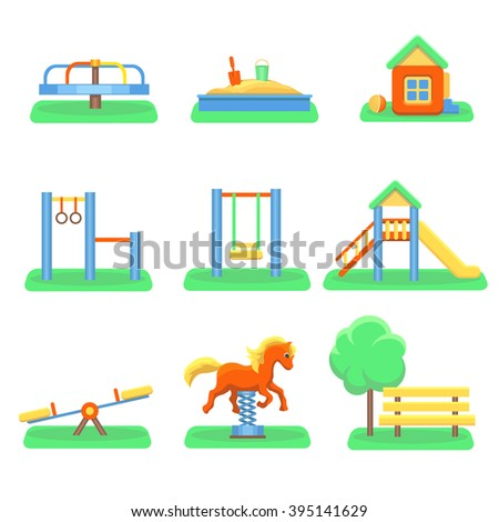 Kids playground set. Icons with kids swings and objects. Slide and kindergarten sandbox vector - stock vector