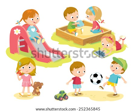 kids playing at playground - stock vector