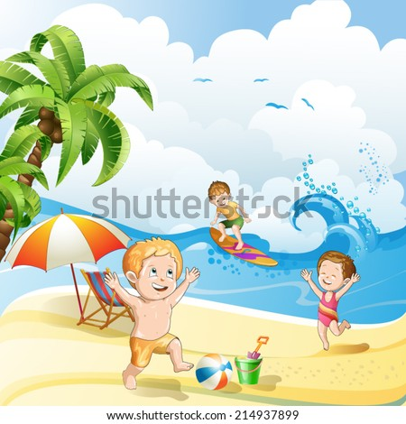 Kids playing at the beach - stock vector