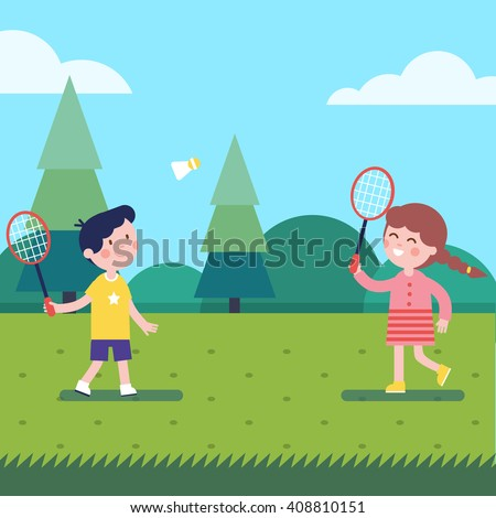 Two people playing badminton clipart