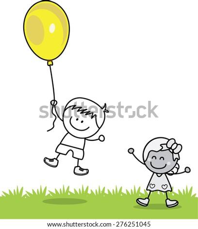 Kids playing ballons - stock vector