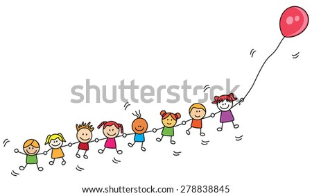 Kids playing balloon - stock vector
