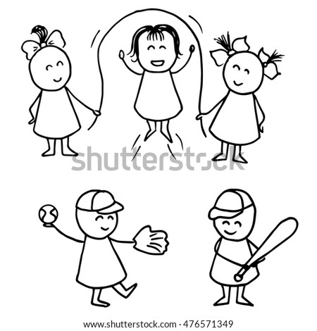 Kids playing baseball. Kids playing rope skipping. Children activity vector illustration.
