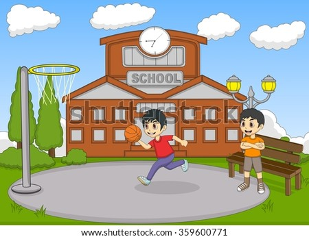 Kids playing basketball on the school cartoon vector illustration