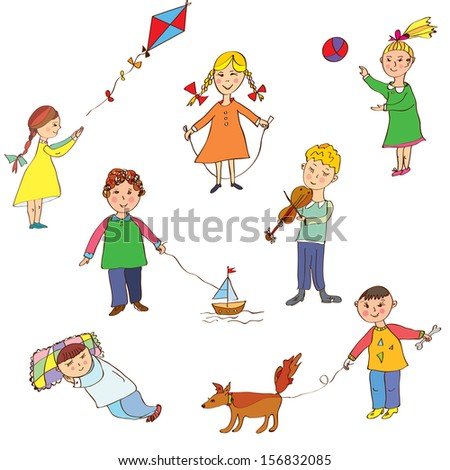Kids playing cute cartoons set  - stock vector
