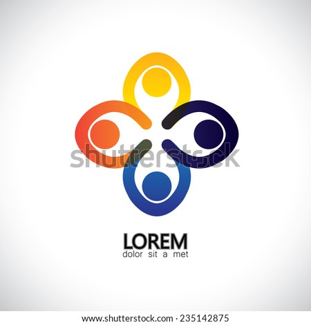 kids playing holding hands, people united for a cause - concept vector icon. This abstract design also represents team spirit cooperation alliance bonding engagement partnership community leadership - stock vector