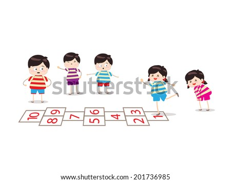 kids playing hopscotch in a playground - stock vector