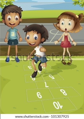 Kids playing hopscotch in park - stock vector