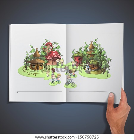 Kids playing in front houses printed on book. Vector design. - stock vector