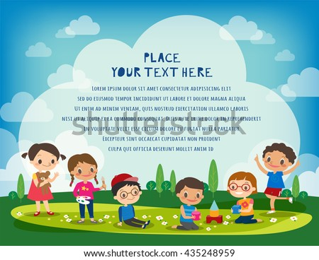 kids playing in the park vector cartoon illustration - stock vector