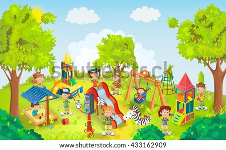 Kids playing in the park vector illustration - stock vector