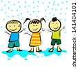 Kids playing in the rain. vector format - stock photo