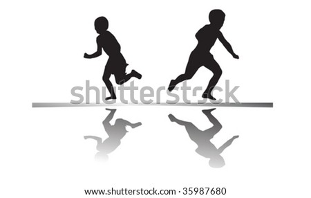 Kids playing in the sun - stock vector