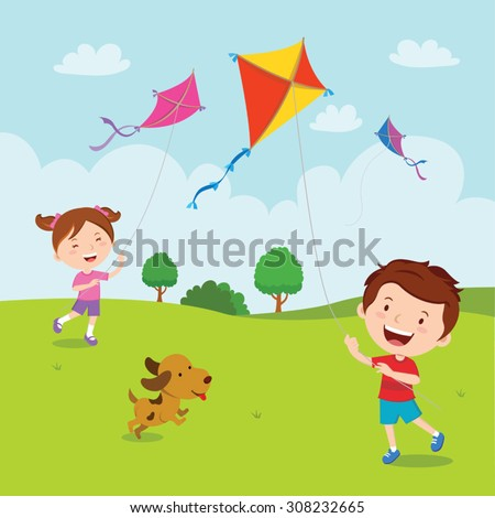 Kids playing kites. Vector illustration of children flying kites on the meadow. - stock vector