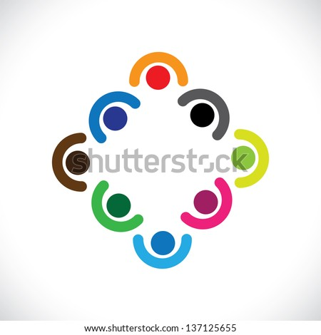 Kids playing or executives, employees team meeting-vector graphic. The illustration can represent children in huddling together & playing or corporate team get-together or people diversity & unity - stock vector