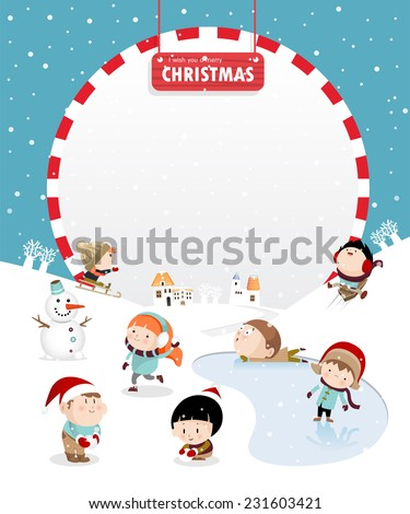 Kids playing outdoors in winter C - stock vector