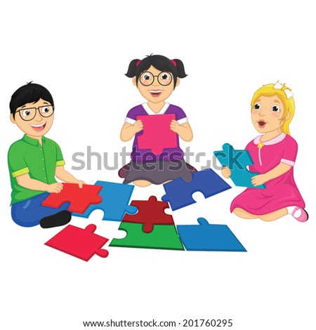 Kids Playing Puzzle Vector Illustration - stock vector