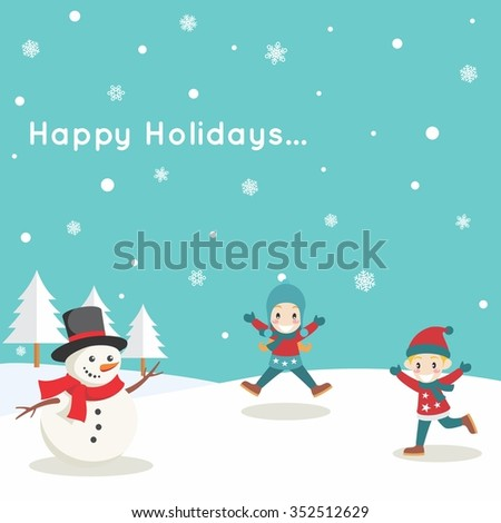 Kids Playing Snow with Cute Snowman in Winter - stock vector