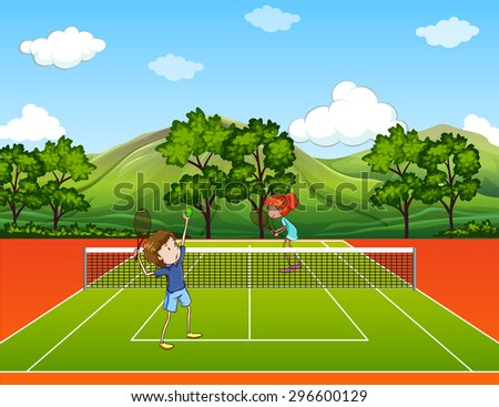 Kids playing tennis in park illustration - stock vector