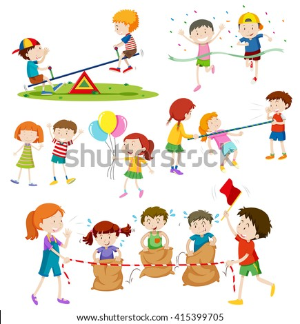 Kids playing various games - stock vector