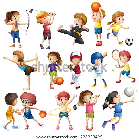 Kids playing various sports on white - stock vector