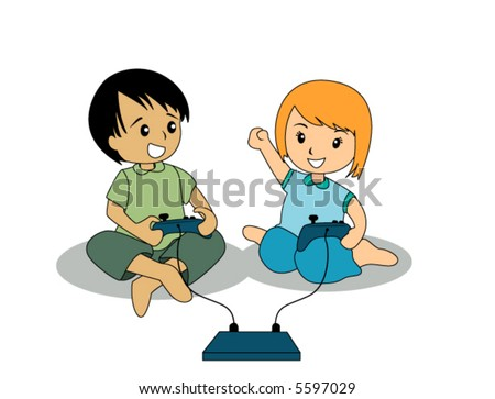 Kids playing video game - Vector - stock vector