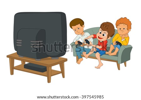 kids playing video games together too close to tv screen. Gaming addiction concept. vector and illustration isolated on white background.