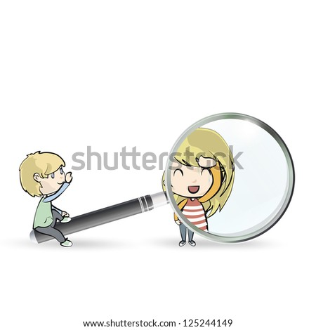 Kids playing with magnifying glass. Vector design. - stock vector