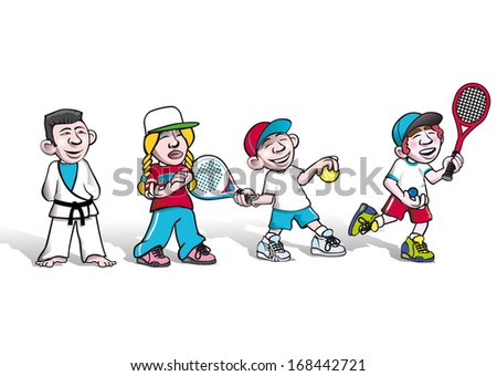 kids practice sports, paddle, tennis, squash,  - stock vector