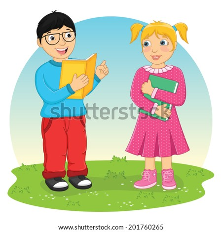 Kids Reading Book Vector Illustration - stock vector