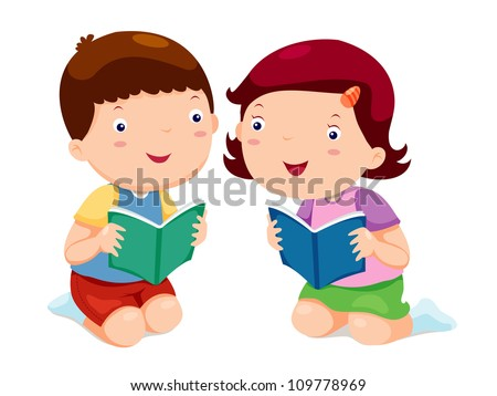 Kids Reading Vector Kids Reading Books Stock