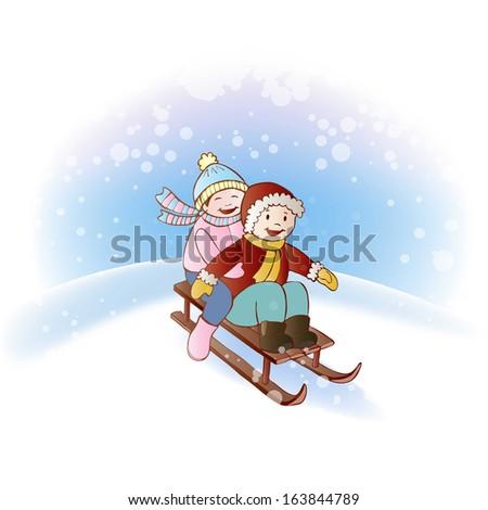 Kids riding a sleigh - stock vector