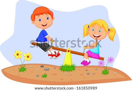 Kids riding on seesaw - stock vector