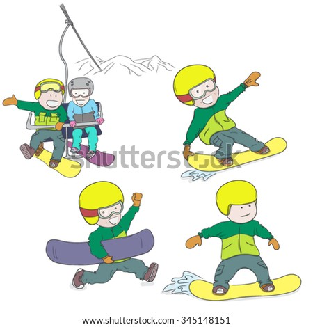 Kids riding snowboard. Hand drawn vector illustration