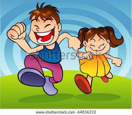 kids running - stock vector