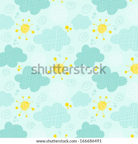 Kids seamless pattern clouds and sun - stock vector