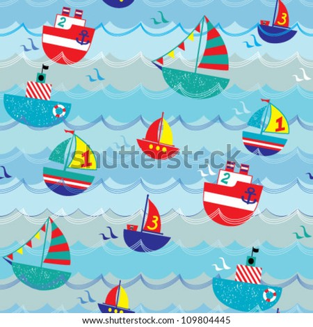 Kids seamless vector pattern with ships, boats and yachts - stock vector