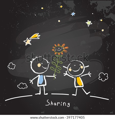 Kids sharing flowers, friends. Vector concept drawing, chalk on chalkboard sketch, doodle.  - stock vector