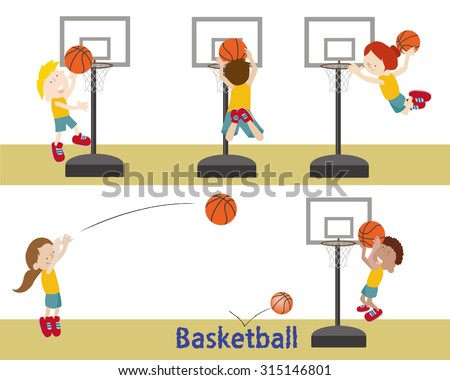 Kids shooting a basketball into basketball hoops. - stock vector