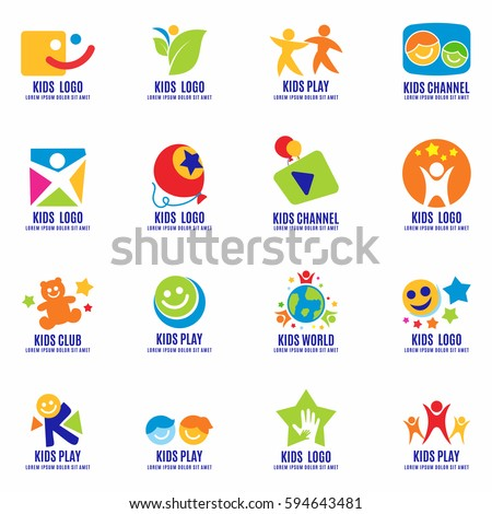 Kids Signs Symbols Logo Set Fun Stock Vector 2018 594643481