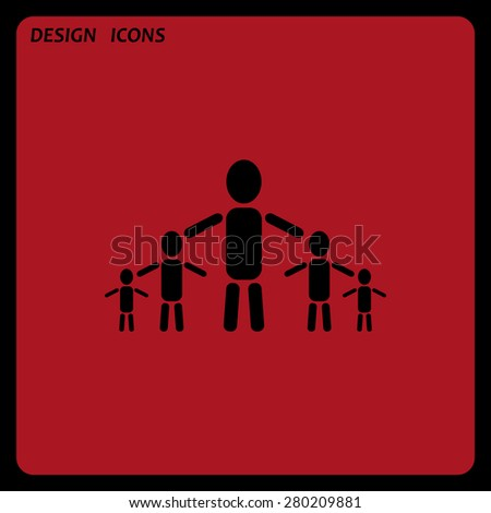 kids silhouette family. icon. vector design. Flat design style