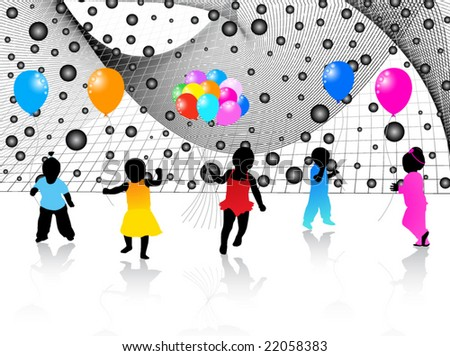 Kids silhouettes and abstract