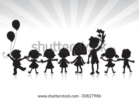 kids silhouettes, white and black - stock vector