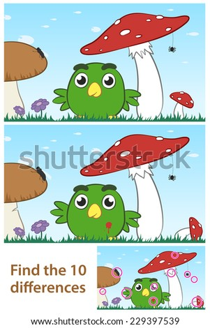 Kids spot the difference educational puzzle with a cute little green cartoon bird playing amongst a field of wild mushrooms in two variations with 10 differences and a third solution - stock vector