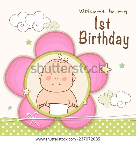 Kids 1st Birthday celebration Invitation card design with cute baby. - stock vector
