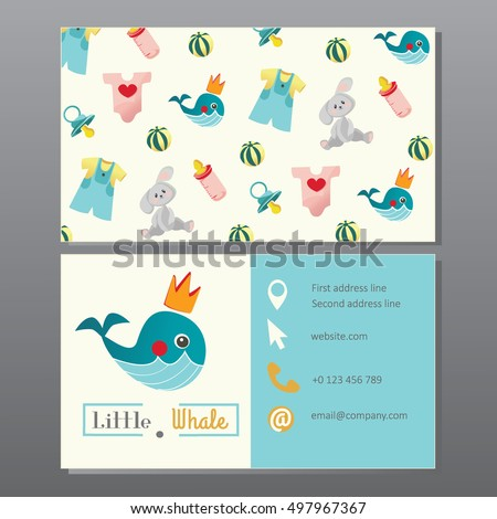 Kids store newborn clothes baby shop stock vector royalty free kids store newborn clothes baby shop toys shop or kindergarten business card template colourmoves