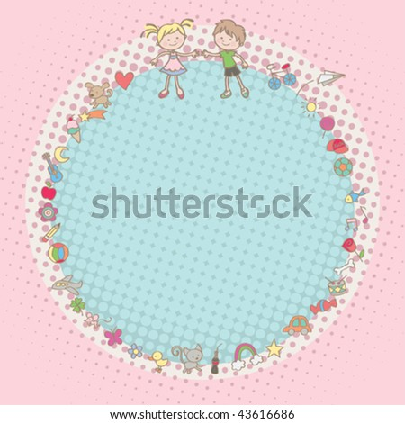 Kids' stuff frame. Vector illustration of a cute frame with some of the children's favorite stuff. Boys' and girls' mix. - stock vector