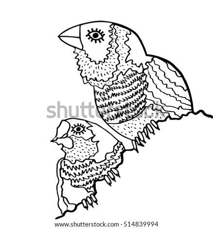 Kids Stylized Bird Abstract Birdhand Drawn Illustrationabstract Toucan