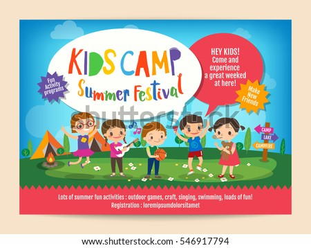 Kids summer camp education advertising poster stock vector kids summer camp education advertising poster flyer template with illustration of children doing activities on camping yadclub Choice Image