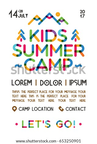Kids Summer Camp Poster With Nature Landscape Consisting Of Mountains Trees Color Line Style For